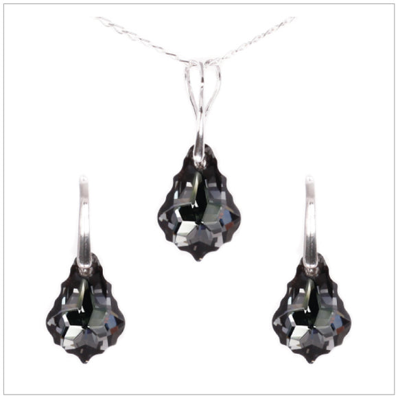 Swarovski Element Baroque Set - Silver Night - swarovski jewellery south africa kcrystals