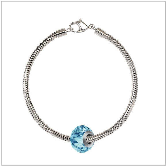 BeCharmed Bracelet Set (19.5cm) Swarovski Element Briolette Charm - Aquamarine