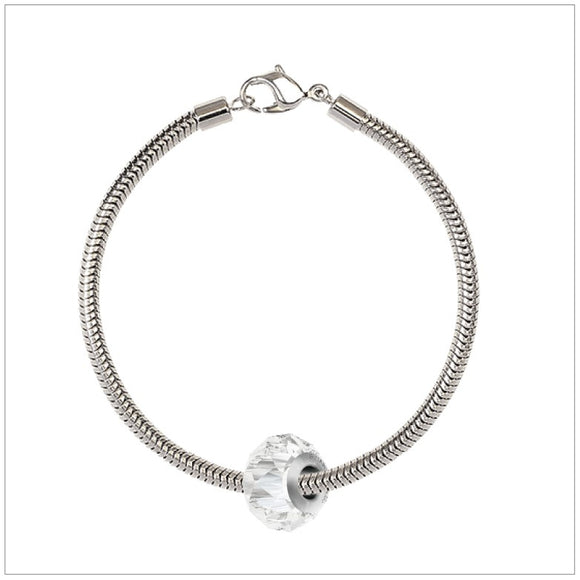 BeCharmed Bracelet Set (17cm) Swarovski Element Briolette Charm - Crystal