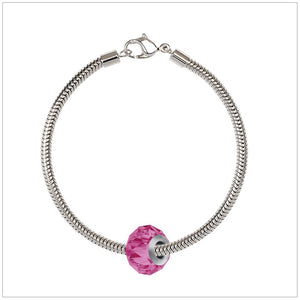 BeCharmed Bracelet Set (19.5cm) Swarovski Element Briolette Charm - Rose