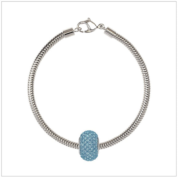 BeCharmed Bracelet Set (19.5cm) Swarovski Element Pave Charm - Aquamarine