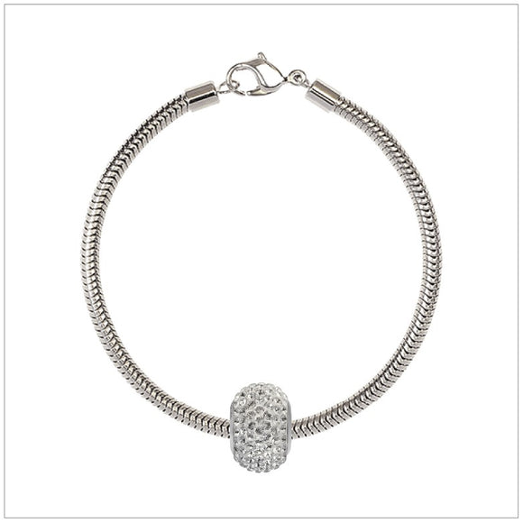 BeCharmed Bracelet Set (17cm) Swarovski Element Pave Charm - Crystal