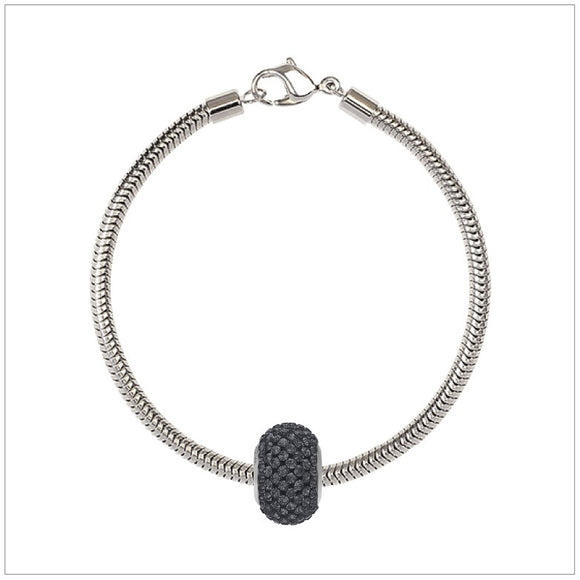 BeCharmed Bracelet Set (19.5cm) Swarovski Element Pave Charm - Silver Night