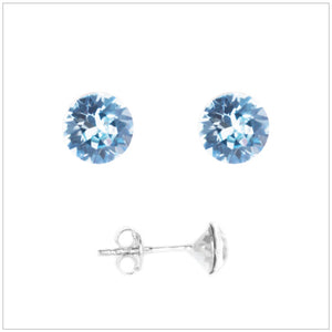 Swarovski Element Chaton Earrings - Aquamarine - K. Crystals Online