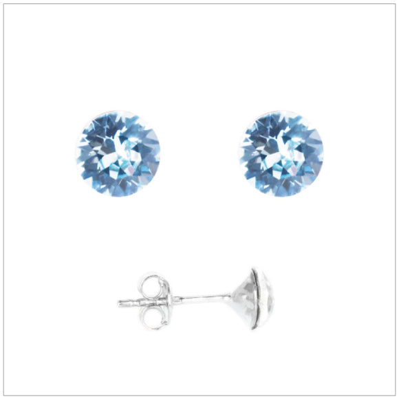 Swarovski Element Chaton Earrings - Aquamarine
