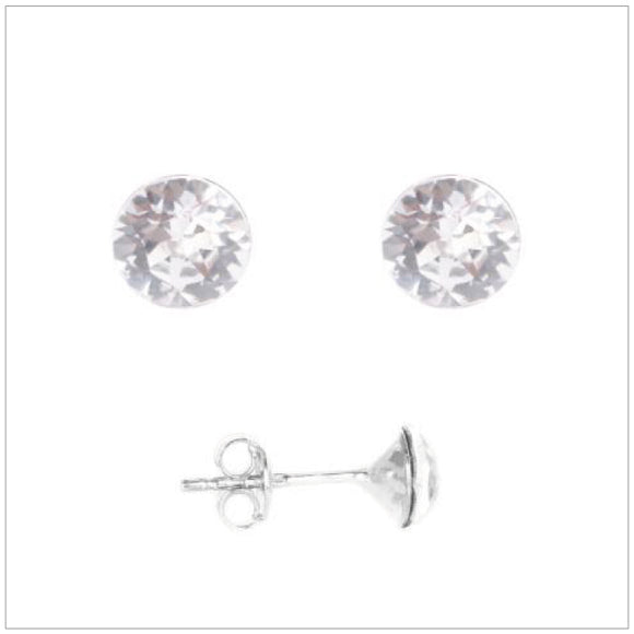 Swarovski Element Chaton Earrings - Crystal