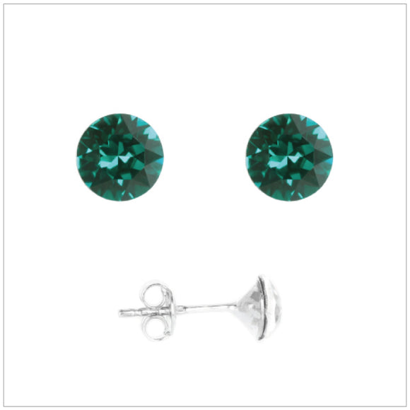 Swarovski Element Chaton Earrings - Emerald - K. Crystals Online