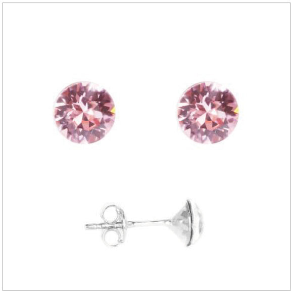 Swarovski Element Chaton Earrings - Light Rose - K. Crystals Online