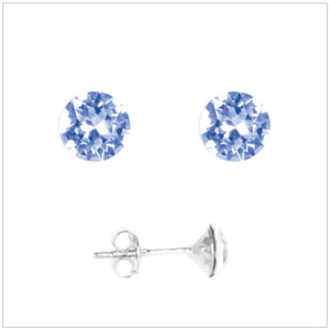 Swarovski Element Chaton Earrings - Light Sapphire - K. Crystals Online