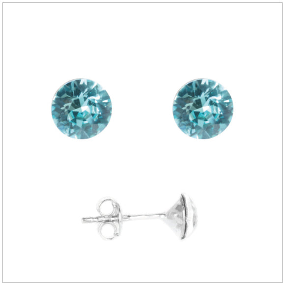 Swarovski Element Chaton Earrings - Light Turquoise - swarovski jewellery south africa kcrystals