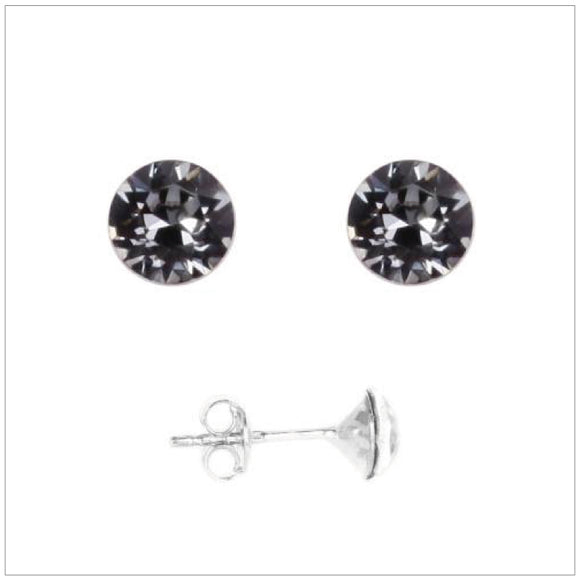 Swarovski Element Chaton Earrings - Silver Night - swarovski jewellery south africa kcrystals