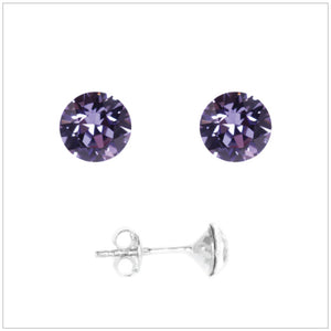 Swarovski Element Chaton Earrings - Tanzanite - swarovski jewellery south africa kcrystals