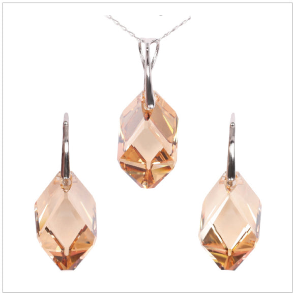 Swarovski Element Cubist Set - Golden Shadow - swarovski jewellery south africa kcrystals