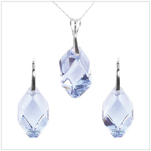Swarovski Element Cubist Set - Light Sapphire - swarovski jewellery south africa kcrystals
