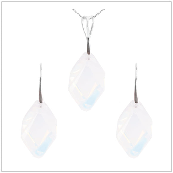 Swarovski Element Cubist Set - White Opal - swarovski jewellery south africa kcrystals
