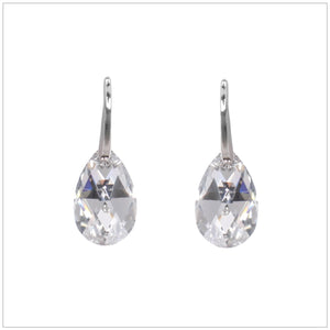 Swarovski Element Drop Earrings - Chrome/Labrador - swarovski jewellery south africa kcrystals