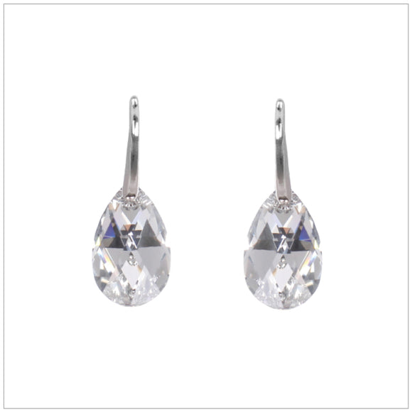 Swarovski Element Drop Earrings - Chrome/Labrador - K. Crystals Online