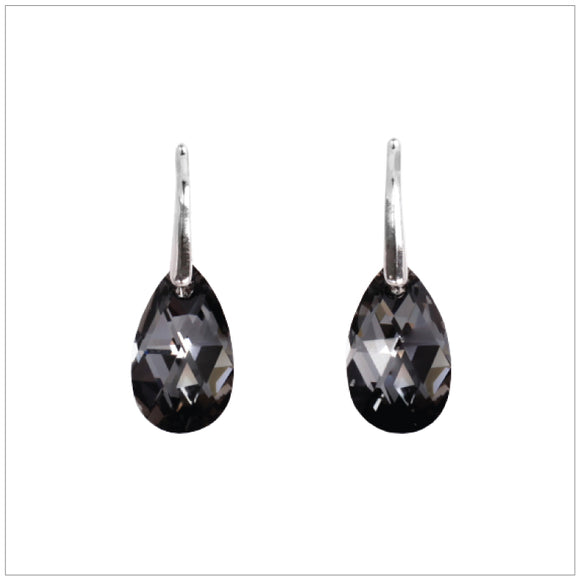 Swarovski Element Drop Earrings - Silver Night - swarovski jewellery south africa kcrystals