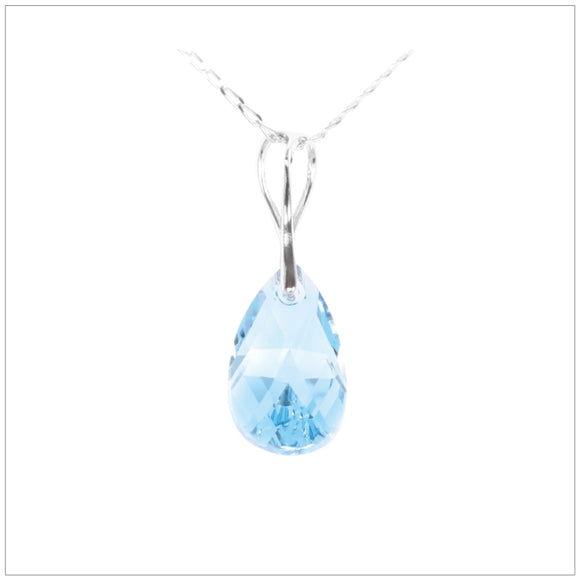 Swarovski Element Drop Necklace - Aquamarine - swarovski jewellery south africa kcrystals