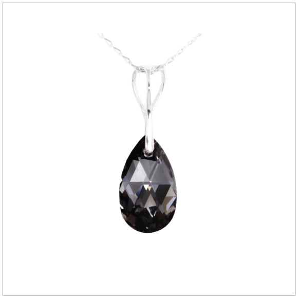 Swarovski Element Drop Necklace - Silver Night - swarovski jewellery south africa kcrystals