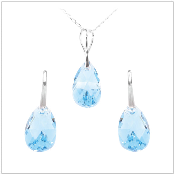 Swarovski Element Drop Set - Aquamarine - swarovski jewellery south africa kcrystals
