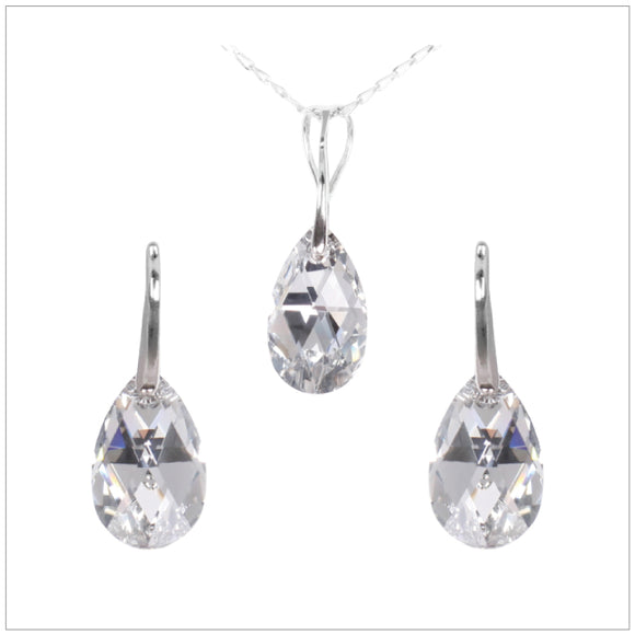 Swarovski Element Drop Set - Chrome/Labrador - swarovski jewellery south africa kcrystals