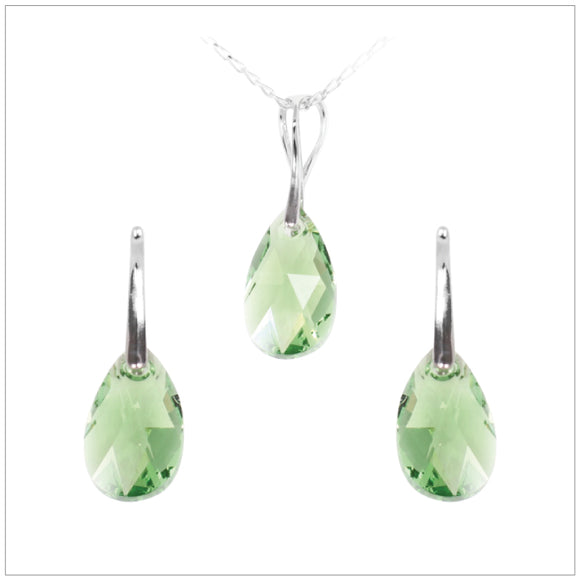 Swarovski Element Drop Set - Peridot - swarovski jewellery south africa kcrystals