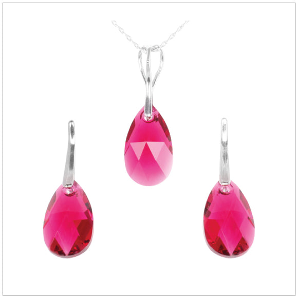 Swarovski Element Drop Set - Ruby - swarovski jewellery south africa kcrystals