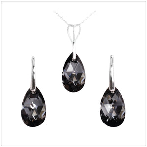 Swarovski Element Drop Set - Silver Night - swarovski jewellery south africa kcrystals