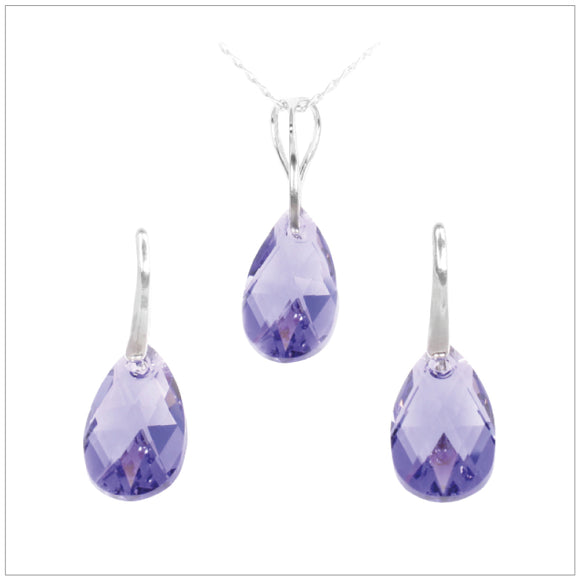 Swarovski Element Drop Set - Tanzanite - swarovski jewellery south africa kcrystals