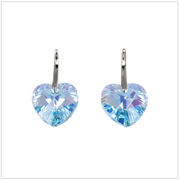 Swarovski Element Heart Earrings - Aquamarine - K. Crystals Online