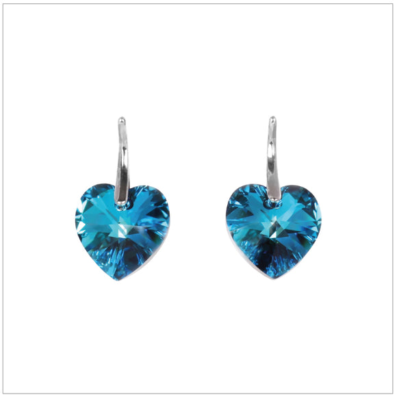 Swarovski Element Heart Earrings - Bermuda Blue - K. Crystals Online