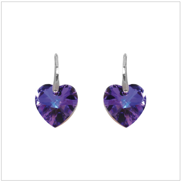 Swarovski Element Heart Earrings - Heliotrop - swarovski jewellery south africa kcrystals