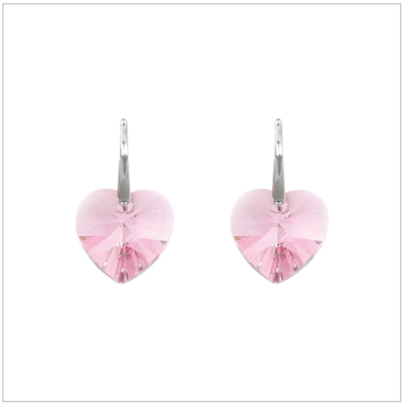 Swarovski Element Heart Earrings - Light Rose - K. Crystals Online