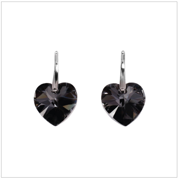 Swarovski Element Heart Earrings - Silver Night - swarovski jewellery south africa kcrystals