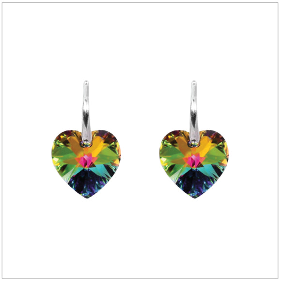 Swarovski Element Heart Earrings - Vitrail Medium - swarovski jewellery south africa kcrystals