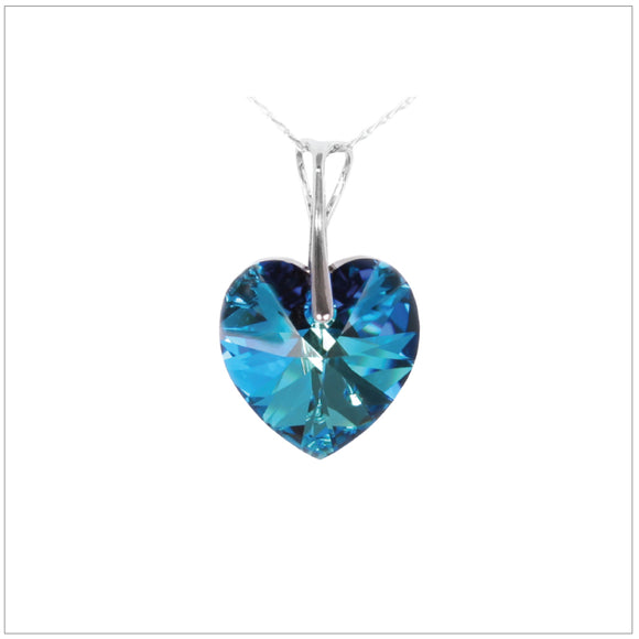 Swarovski Element Heart Necklace - Bermuda Blue - K. Crystals Online