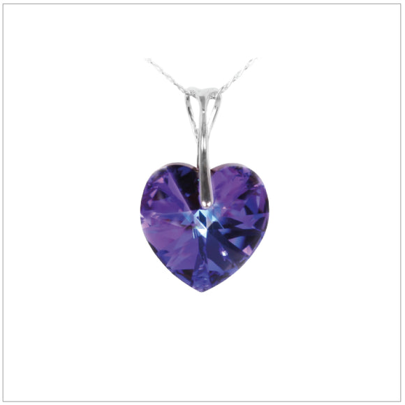 Swarovski Element Heart Necklace - Heliotrop - swarovski jewellery south africa kcrystals