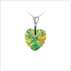 Swarovski Element Heart Necklace - Peridot - swarovski jewellery south africa kcrystals