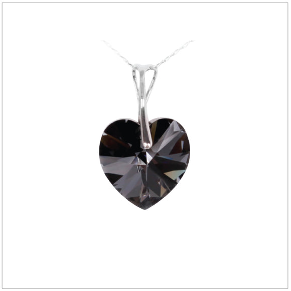 Swarovski Element Heart Necklace - Silver Night - swarovski jewellery south africa kcrystals
