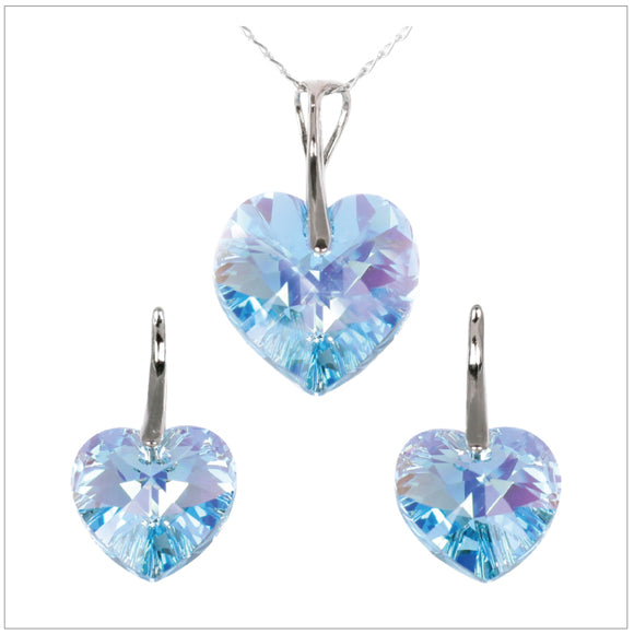 Swarovski Element Heart Set - Aquamarine - swarovski jewellery south africa kcrystals
