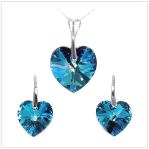 Swarovski Element Heart Set - Bermuda Blue - K. Crystals Online