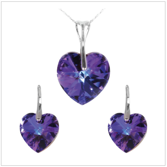 Swarovski Element Heart Set - Heliotrop - swarovski jewellery south africa kcrystals