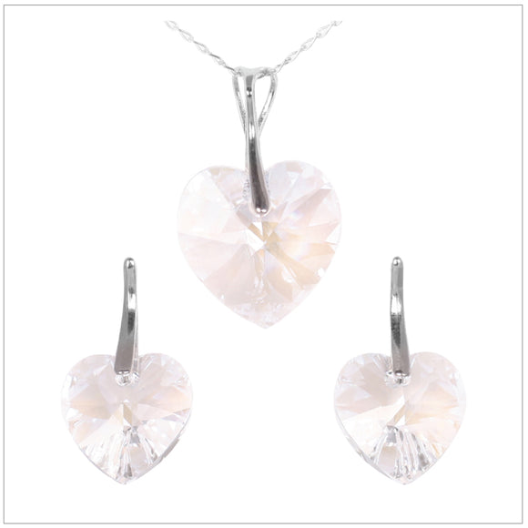 Swarovski Element Heart Set - Moon Light - swarovski jewellery south africa kcrystals
