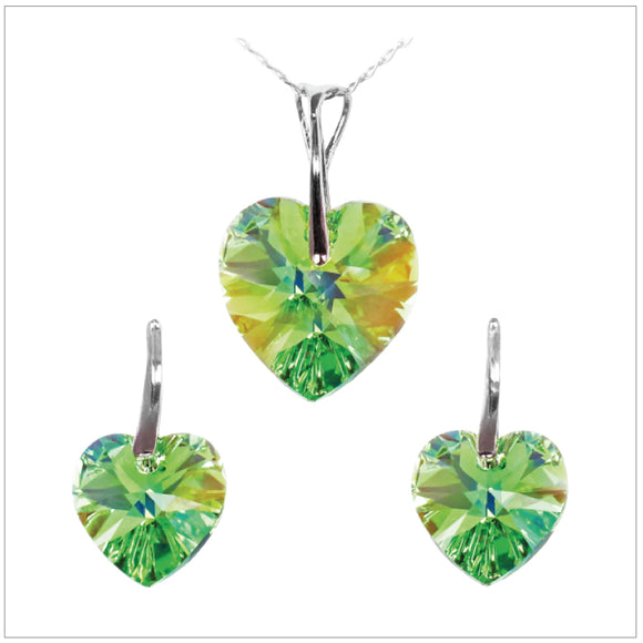 Swarovski Element Heart Set - Peridot - swarovski jewellery south africa kcrystals