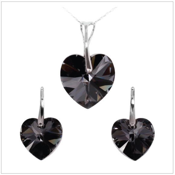 Swarovski Element Heart Set - Silver Night - swarovski jewellery south africa kcrystals