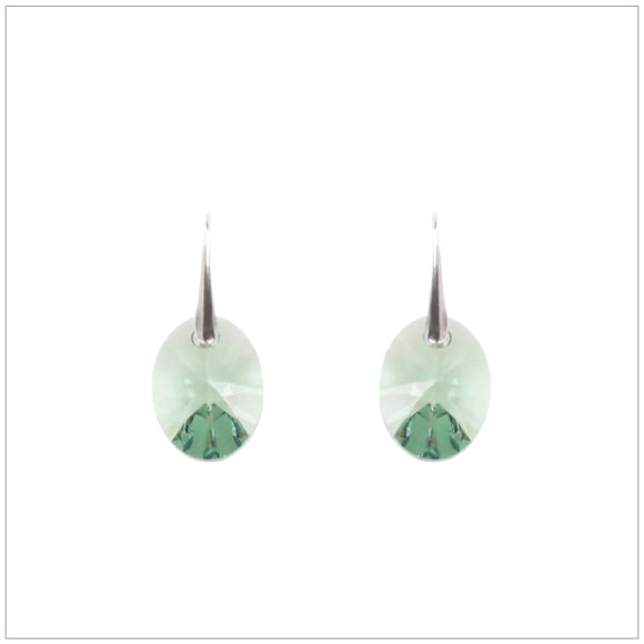 Swarovski Element Oval Earrings - Fern Green