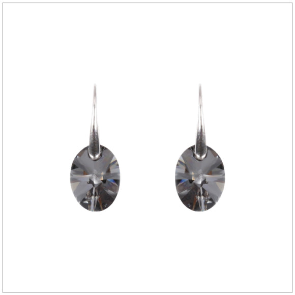 Swarovski Element Oval Earrings - Silver Night