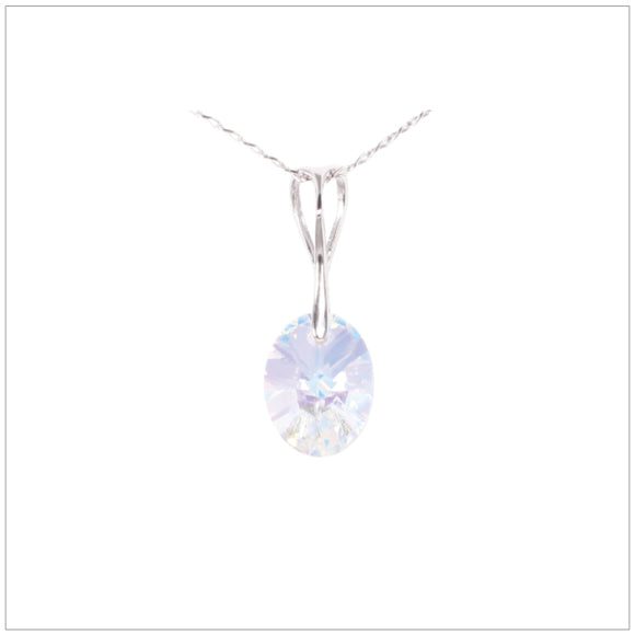 Swarovski Element Oval Necklace - Aurore Boreale
