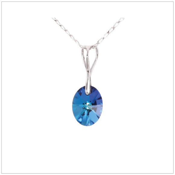 Swarovski Element Oval Necklace - Bermuda Blue
